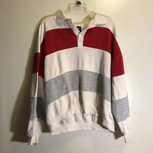 vintage oversized striped collared sweater